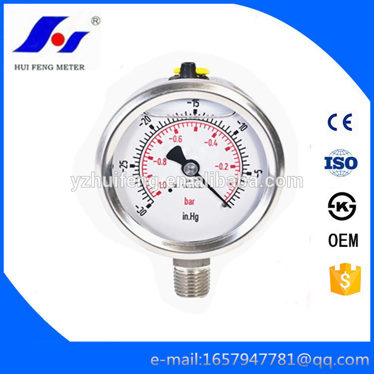 "HF Vacuum 30""-0inHg/bar Glycerine or Silicone Liquid Filled Type All SS CNG Pressure Gauge en 837-1"