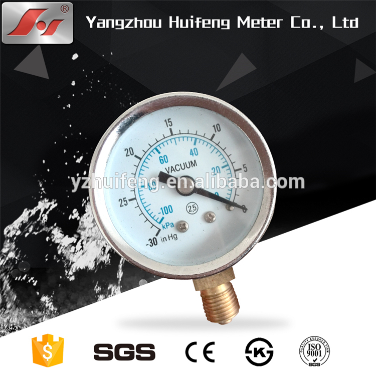 HF 63mm Cheap price of brass connection iron vacuum pressure gauge with CE certificate