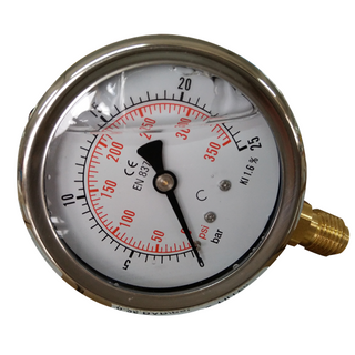HF Stainless Steel 0-30psi/2bar Oil Filled Axial Direction Hydraulic Water Gas Pressure Gauge