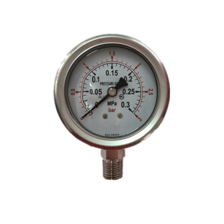 High quality stainless steel liquid silicone oil filled EN837-1 pressure gauge