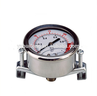 HF 150psi/MPa All Stainless Steel Water Test Compound 60mm Hydraulic U-shape Clamp Pressure Gauge