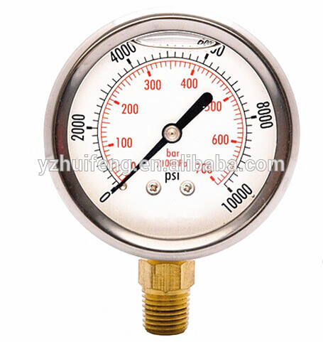 HF 0-10000psi/0-700bar Air Bourdon Tube Regulator Instruments Lpg High Pressure Gauge