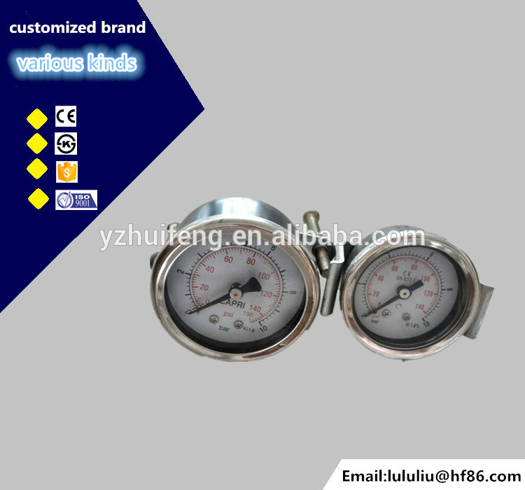 HF High quality black iron 0-100 psi 7 bar pneumatic compressed air pressure gauge with U bracket