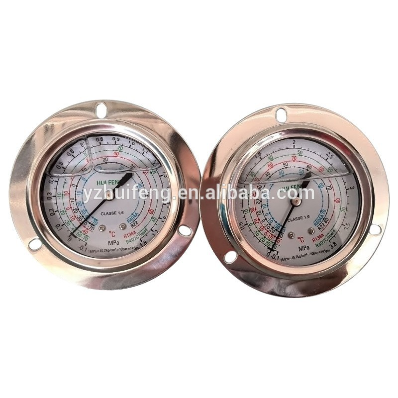 HF high and low refrigerant Freo liquid filled hydraulic pressure gauge stainless steel case
