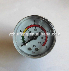HF Small 30mm Stainless Steel Case Water 0-4bar/psi Manometer Tank Pressure Gauge