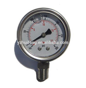"HF Hydraulic All SS 30""-0-300psi/bar Vacuum Bottom Connection Glycerin Filled 50mm Pressure Gauge"