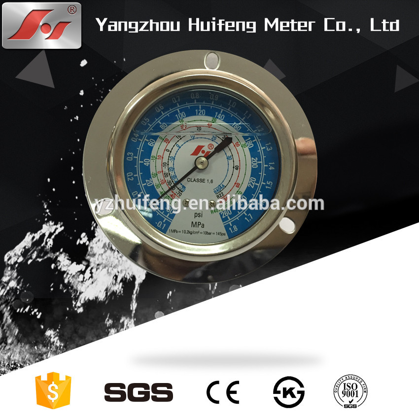 "HF 2.5"" Y63 63mm oil-filled freon air conditioner and refrigeration system pressure gauge with flange"