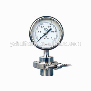 HF ISO9001 Certification Stainless Steel Sanitary Diaphragm 0-10bar 0-1MPa Pressure Gauge