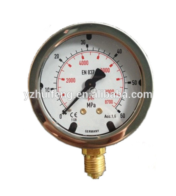 HF Aseismatic CNG SS Case Oil Filled Excavator Hydraulic Pressure Test Gauge 0-25 MPa/psi