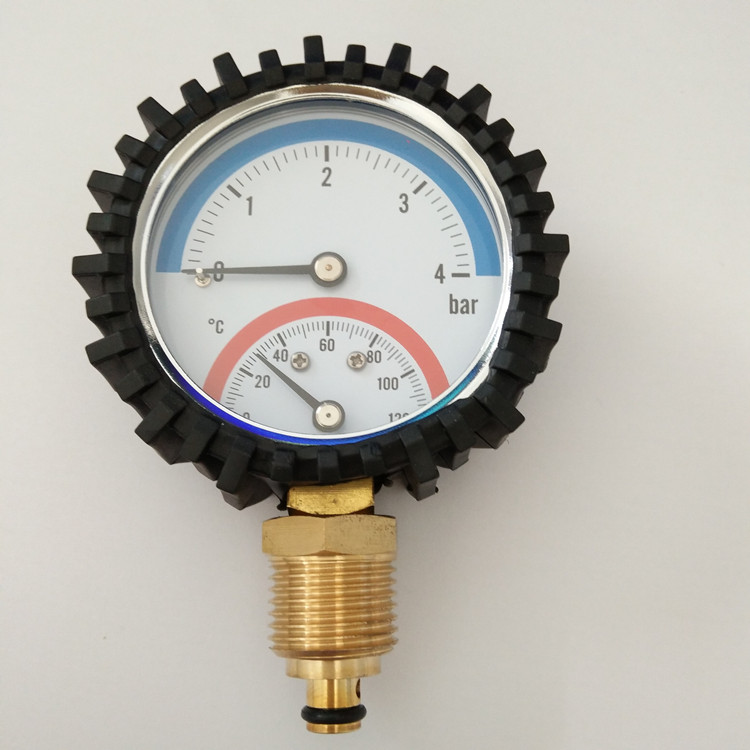 HF 63mm Black Steel economic combined temperature pressure gauge with rubber protection